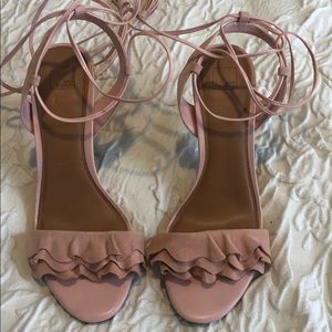 Blush pink suede leather strappy heels Sz 10